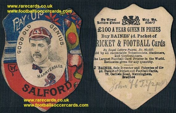 1890s Harry Eagles good old genius Salford Baines card